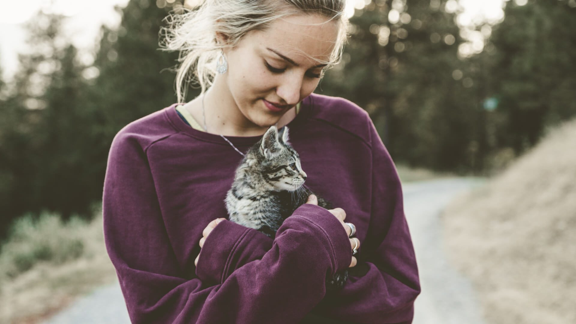 woman in a purple sweatshirt holding her new kitten