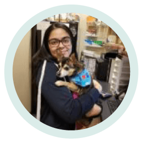 yesenia ortiz veterinary assistant holding a dog at village west veterinary in chicago